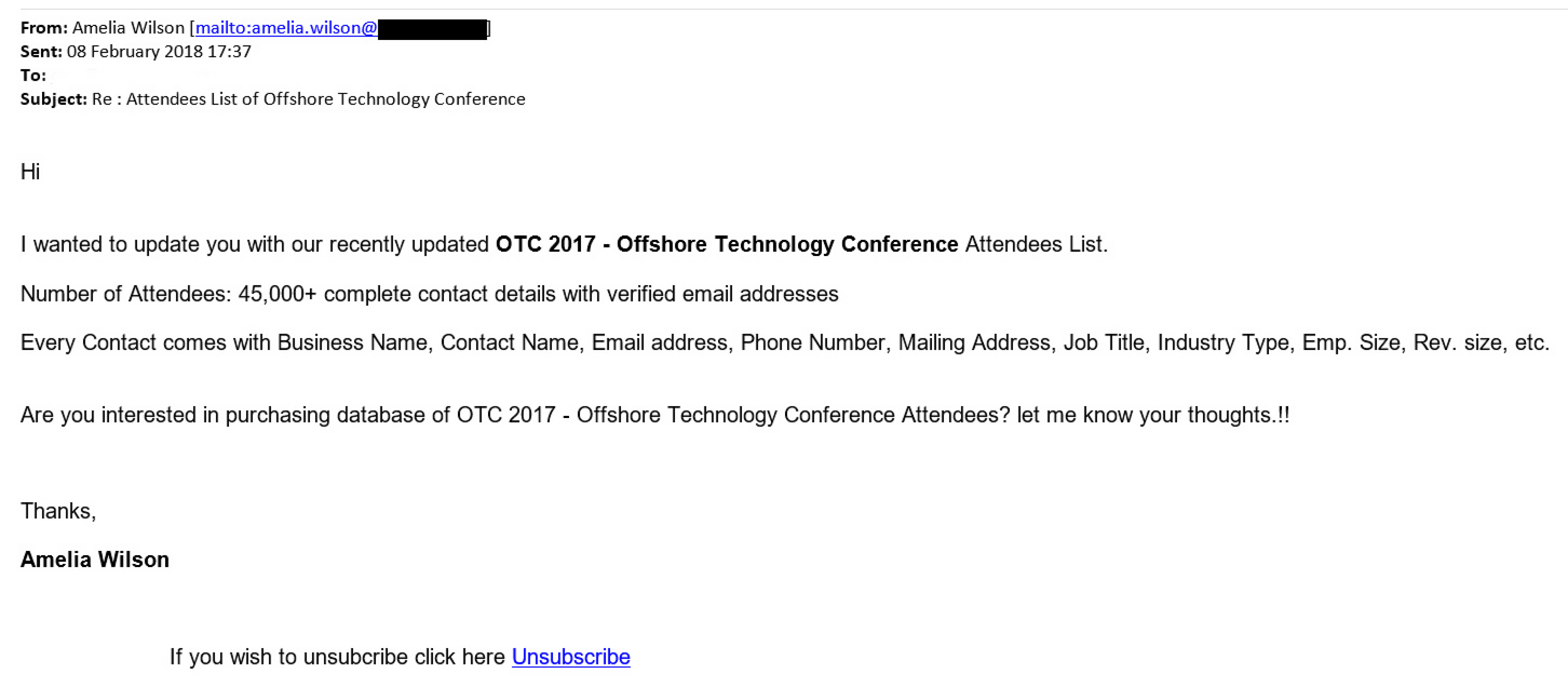 OTC attendee list scam example